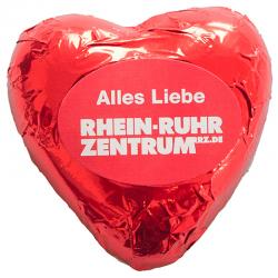 Corazón de chocolate con etiqueta